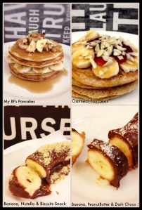 My Healthy Pancakes vs His Traditional Pancakes My Healthy Peanut butter, dark choco Banana Snack vs his Nutella & Biscuits Banana Snack